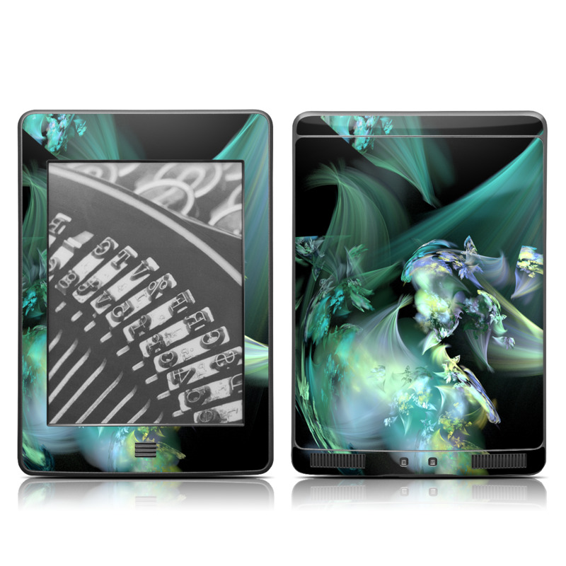 Amazon Kindle 4th Gen Touch Skin design of Fractal art, Cg artwork, Fictional character, Organism, Graphic design, Graphics, Art, Photography, Mythical creature, Dragon with black, blue, gray, green colors