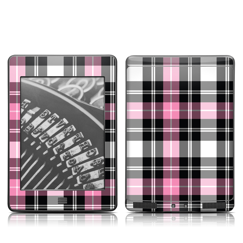 Amazon Kindle 4th Gen Touch Skin design of Plaid, Tartan, Pattern, Pink, Purple, Violet, Line, Textile, Magenta, Design with black, gray, pink, red, white, purple colors