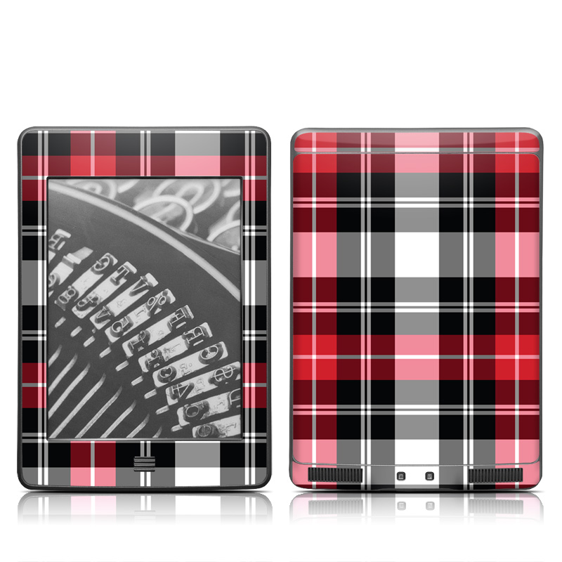 Amazon Kindle 4th Gen Touch Skin design of Plaid, Tartan, Pattern, Red, Textile, Design, Line, Pink, Magenta, Square with black, gray, pink, red, white colors