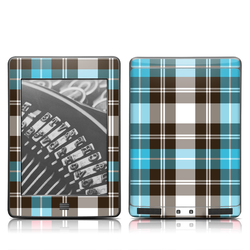 Turquoise Plaid Amazon Kindle Touch Skin