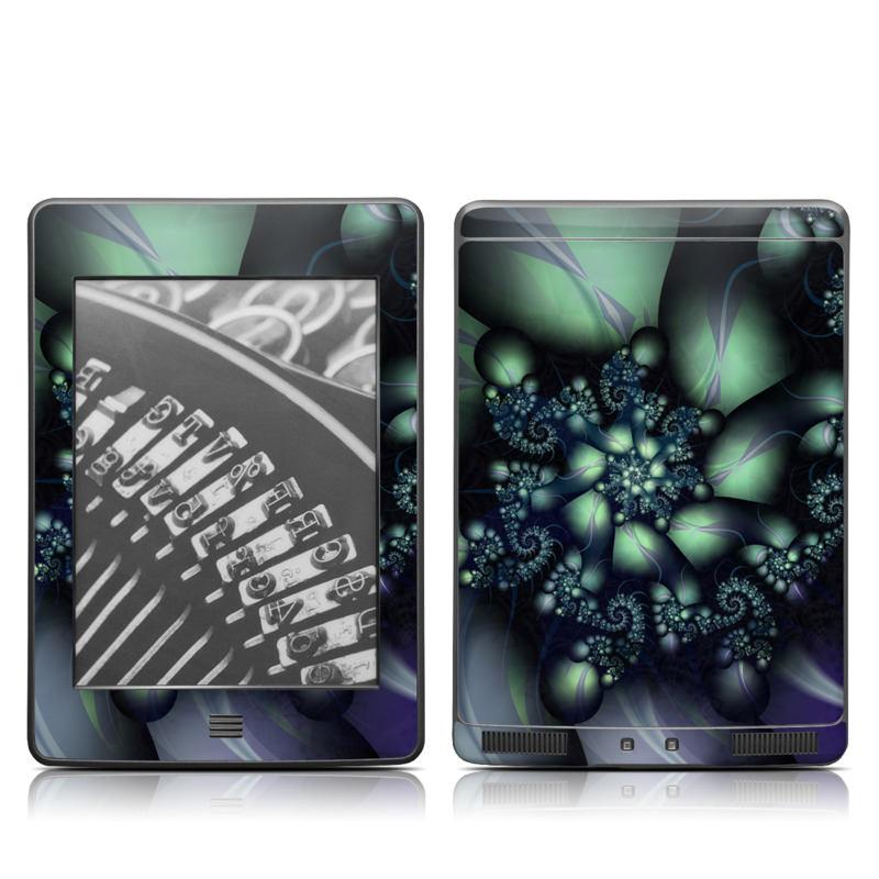 Amazon Kindle 4th Gen Touch Skin design of Fractal art, Blue, Purple, Graphic design, Art, Design, Pattern, Organism, Plant, Graphics with black, gray, blue, green colors