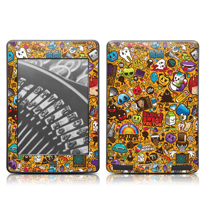 Amazon Kindle 4th Gen Touch Skin design of Pattern, Psychedelic art, Visual arts, Art, Design, Illustration, Graphic design, Doodle with black, green, red, gray, orange, blue colors