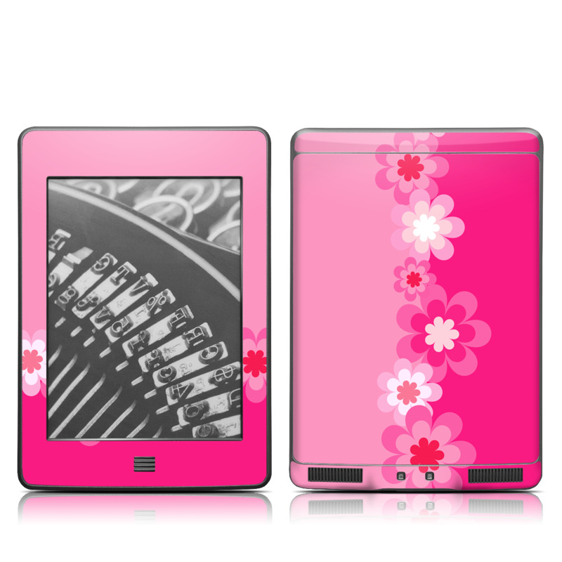 Retro Pink Flowers Amazon Kindle Touch Skin