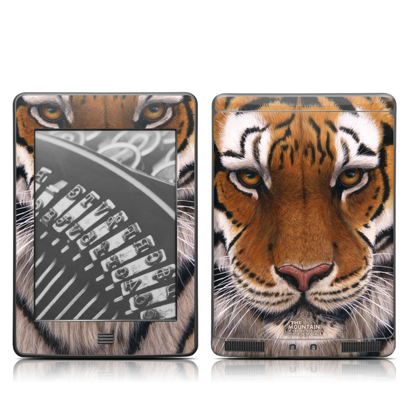 Amazon Kindle 4th Gen Touch Skin design of Tiger, Mammal, Wildlife, Terrestrial animal, Vertebrate, Bengal tiger, Whiskers, Siberian tiger, Felidae, Snout with black, gray, red, green, pink colors