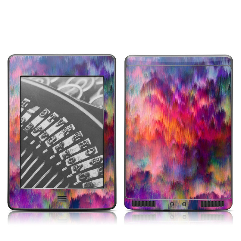 Amazon Kindle 4th Gen Touch Skin design of Sky, Purple, Pink, Blue, Violet, Painting, Watercolor paint, Lavender, Cloud, Art with red, blue, purple, orange, green colors