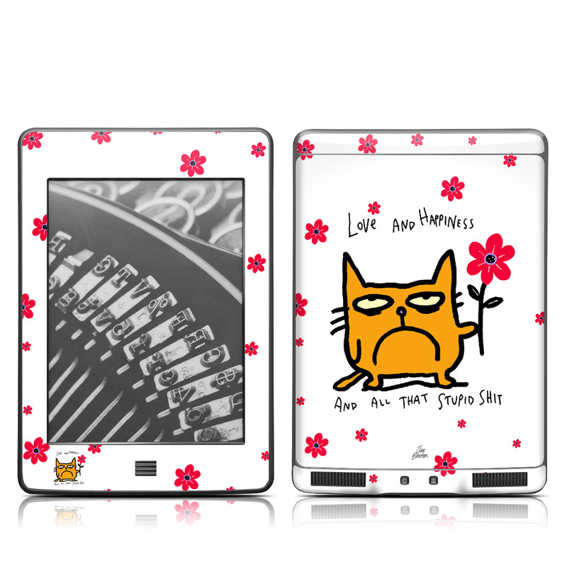 Amazon Kindle 4th Gen Touch Skin design of Red, Heart, Valentine's day, Petal, Love, Carmine with red, white, gray, black, pink colors