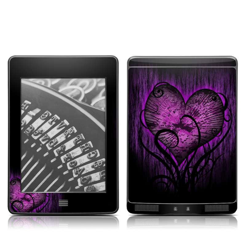 Amazon Kindle 4th Gen Touch Skin design of Purple, Heart, Violet, Pink, Red, Love, Organ, Magenta, Human body with black, purple, blue colors