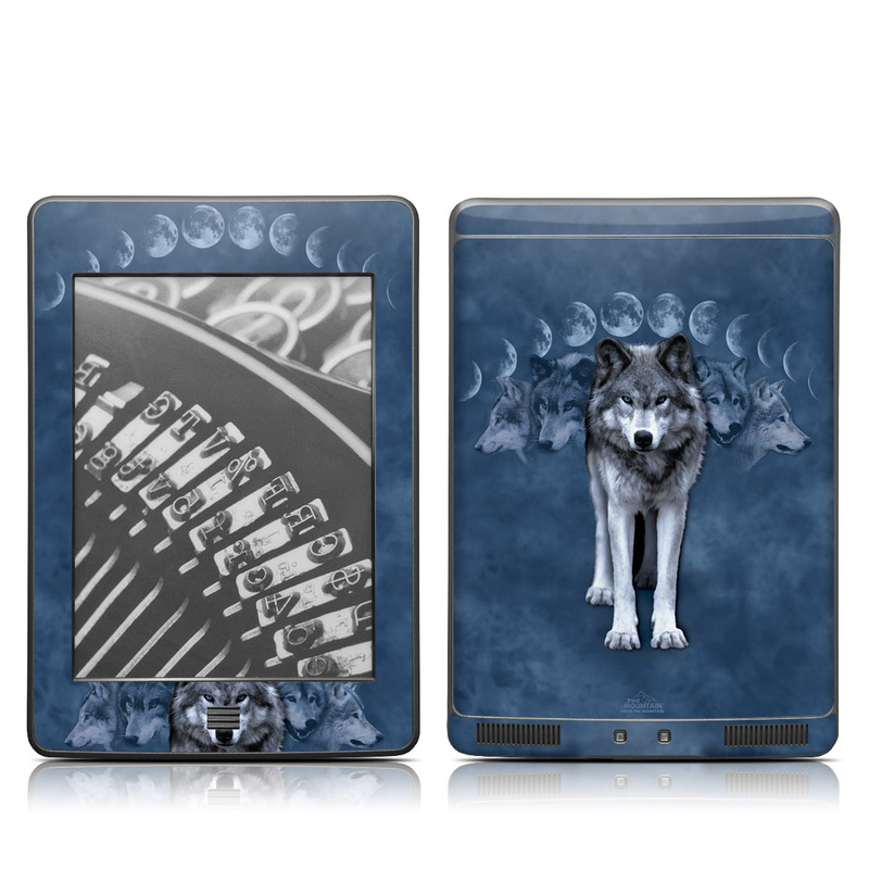 Amazon Kindle 4th Gen Touch Skin design of Wolf, canis lupus tundrarum, Canidae, Canis, Wildlife, Wolfdog, Northern inuit dog, Saarloos wolfdog, Czechoslovakian wolfdog, Sky with black, blue, gray colors