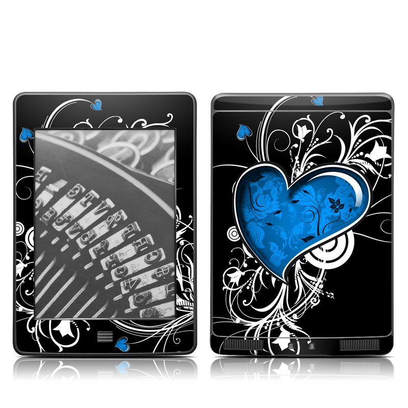Amazon Kindle 4th Gen Touch Skin design of Graphic design, Heart, Design, Graphics, Illustration, Pattern, Plant, Visual arts, Art with black, gray, blue, white colors