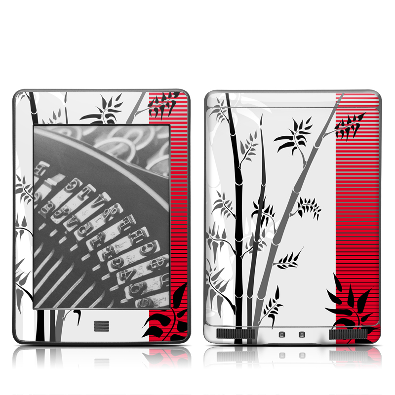 Amazon Kindle 4th Gen Touch Skin design of Botany, Plant, Branch, Plant stem, Tree, Bamboo, Pedicel, Black-and-white, Flower, Twig with gray, red, black, white colors