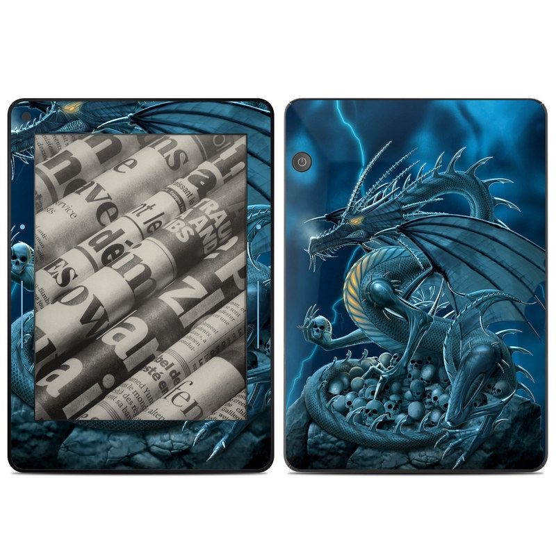 Amazon Kindle Voyage Skin design of Cg artwork, Dragon, Mythology, Fictional character, Illustration, Mythical creature, Art, Demon with blue, yellow colors