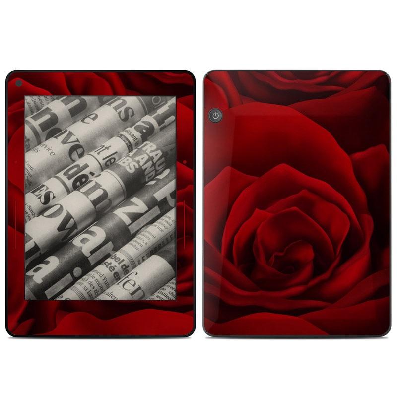 Amazon Kindle Voyage Skin design of Red, Garden roses, Rose, Petal, Flower, Nature, Floribunda, Rose family, Close-up, Plant with black, red colors