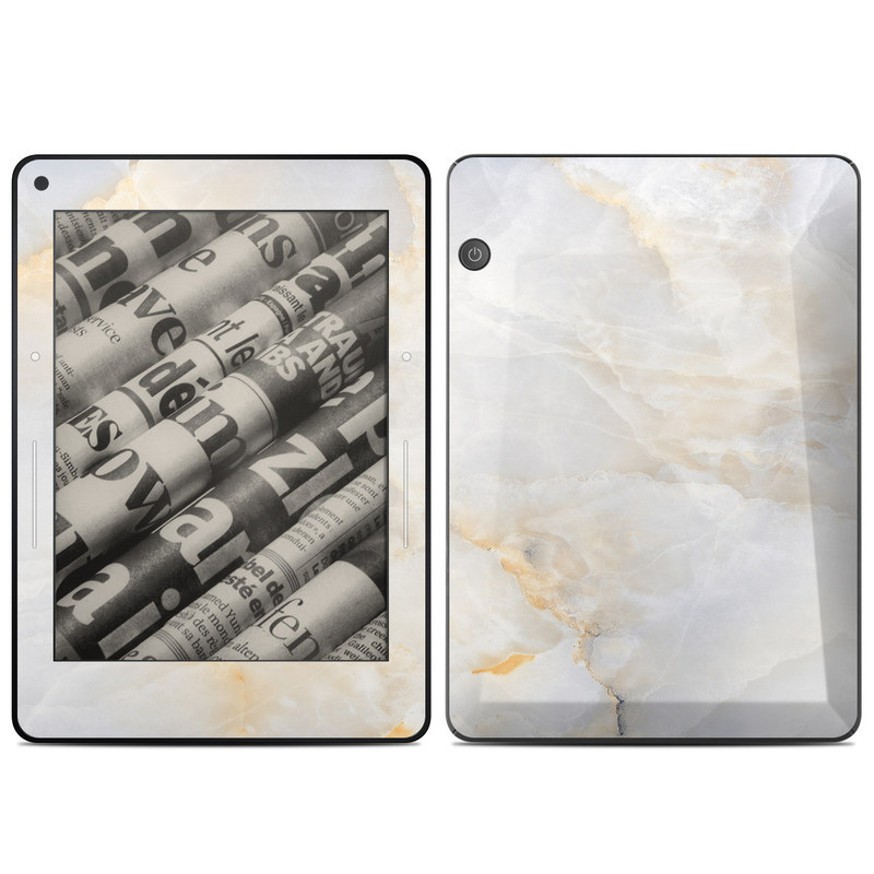 Amazon Kindle Voyage Skin design of White, Textile, Flooring, Marble, Paper, Pattern, Fashion accessory, Tile with white, orange, black, yellow colors