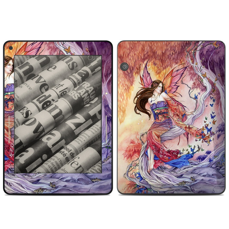 Amazon Kindle Voyage Skin design of Cg artwork, Illustration, Fictional character, Cartoon, Anime, Long hair, Art, Mythology, Supernatural creature, Mythical creature with gray, red, pink, black, green, purple colors