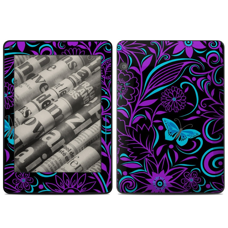Amazon Kindle Voyage Skin design of Pattern, Purple, Violet, Turquoise, Teal, Design, Floral design, Visual arts, Magenta, Motif with black, purple, blue colors