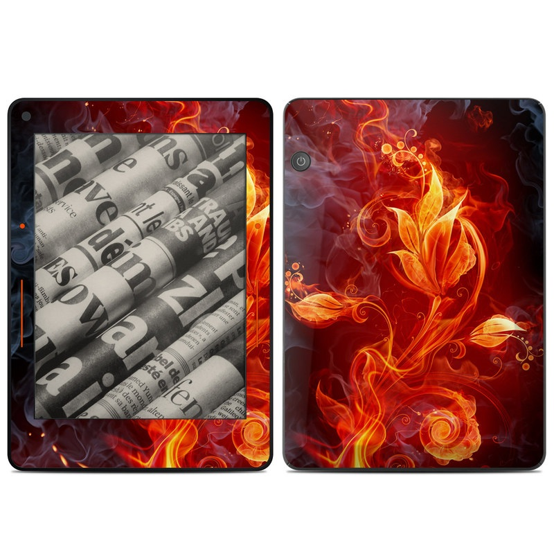 Amazon Kindle Voyage Skin design of Flame, Fire, Heat, Red, Orange, Fractal art, Graphic design, Geological phenomenon, Design, Organism with black, red, orange colors