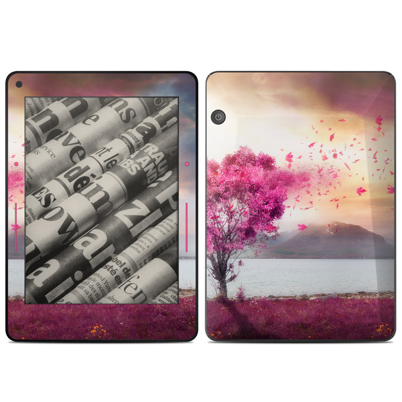 Amazon Kindle Voyage Skin design of Sky, Nature, Natural landscape, Pink, Tree, Spring, Purple, Landscape, Cloud, Magenta with pink, yellow, blue, black, gray colors
