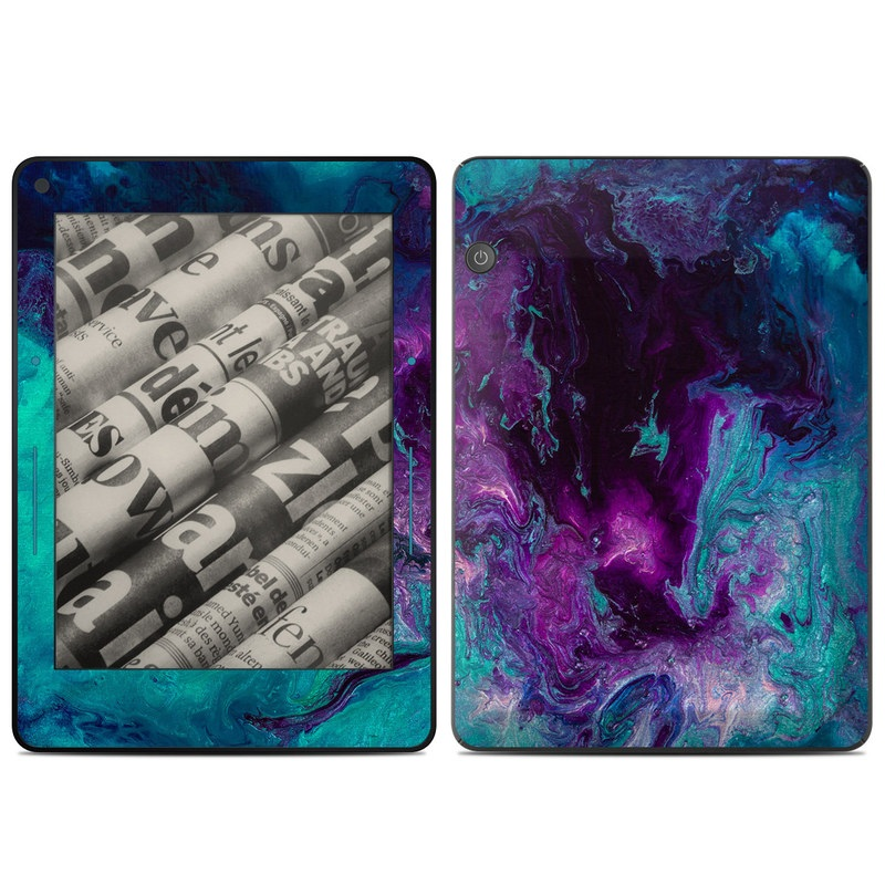 Amazon Kindle Voyage Skin design of Blue, Purple, Violet, Water, Turquoise, Aqua, Pink, Magenta, Teal, Electric blue with blue, purple, black colors