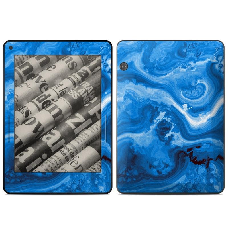 Amazon Kindle Voyage Skin design of Blue, Water, Aqua, Azure, Turquoise, Pattern, Liquid, Wave, Electric blue, Design with blue, white, black colors