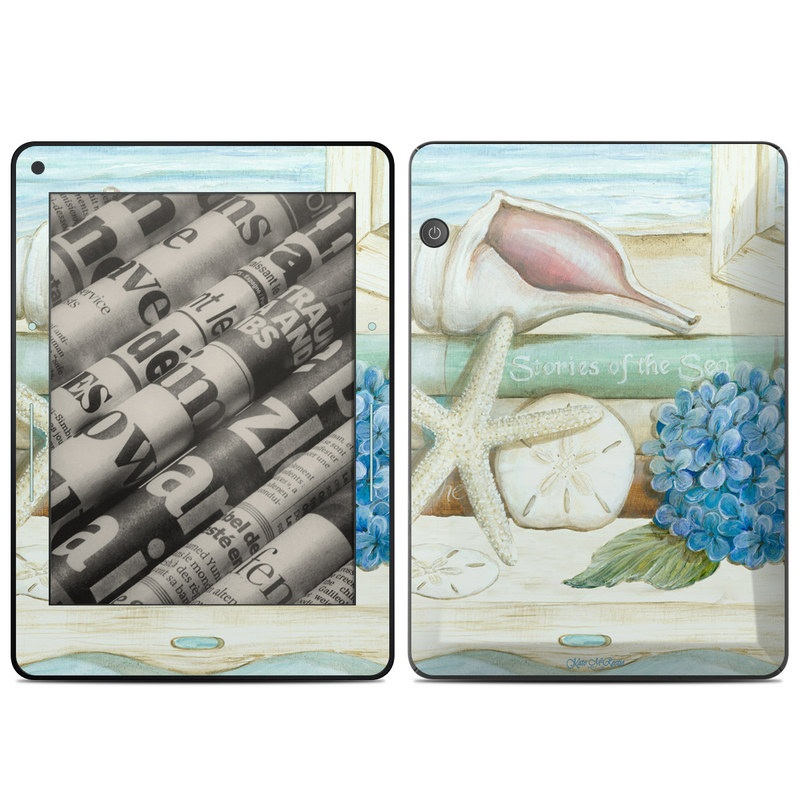 Amazon Kindle Voyage Skin design of Starfish, Shell, Hydrangea, Plant, Flower, Still life, Echinoderm, Cornales with gray, green, blue, yellow colors