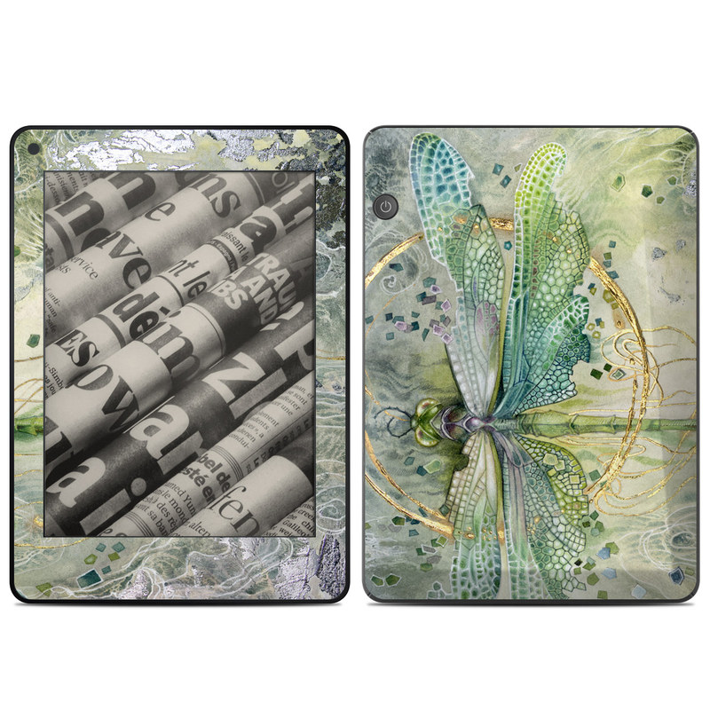 Amazon Kindle Voyage Skin design of Green, Painting, Watercolor paint, Water, Acrylic paint, Leaf, Visual arts, Plant, Art, Photography with green, yellow, blue, gray colors