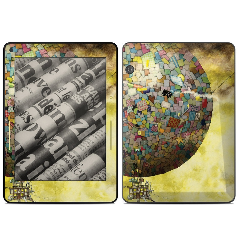 Amazon Kindle Voyage Skin design of World, Illustration, Art, Sphere, Pattern, Painting with yellow, brown, red, blue, orange, green colors