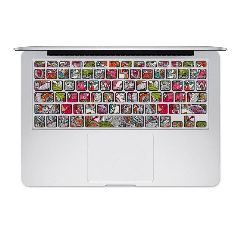 MacBook Pre 2016 Keyboard Skin design of Pattern, Drawing, Visual arts, Art, Design, Doodle, Floral design, Motif, Illustration, Textile with gray, red, black, green, purple, blue colors