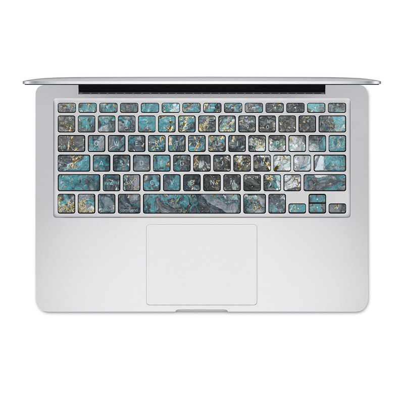 MacBook Pre 2016 Keyboard Skin design of Blue, Turquoise, Green, Aqua, Teal, Geology, Rock, Painting, Pattern with black, white, gray, green, blue colors