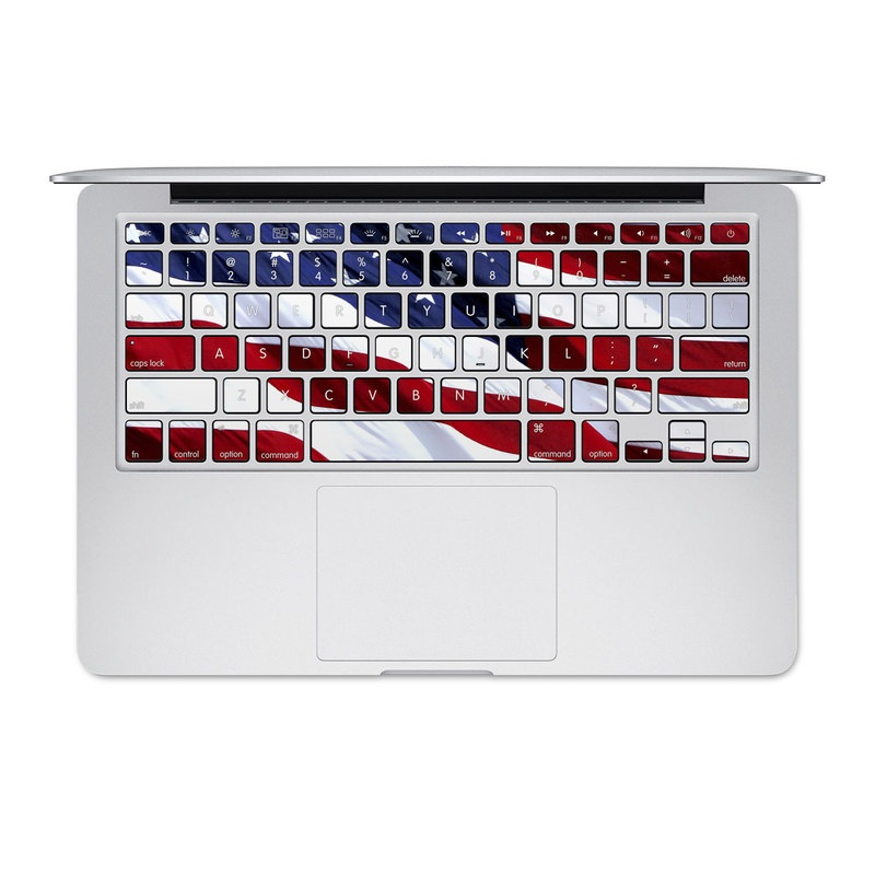 MacBook Pre 2016 Keyboard Skin design of Flag, Flag of the united states, Flag Day (USA), Veterans day, Memorial day, Holiday, Independence day, Event with red, blue, white colors