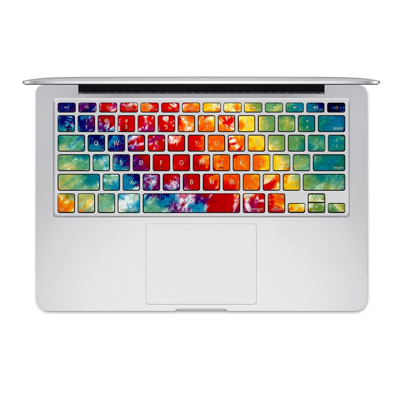 MacBook Pre 2016 Keyboard Skin design of Orange, Watercolor paint, Sky, Dye, Acrylic paint, Colorfulness, Geological phenomenon, Art, Painting, Organism with red, orange, blue, green, yellow, purple colors
