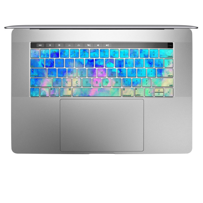 MacBook Keyboard Skin design of Blue, Turquoise, Aqua, Pattern, Dye, Design, Sky, Electric blue, Art, Watercolor paint with blue, purple colors