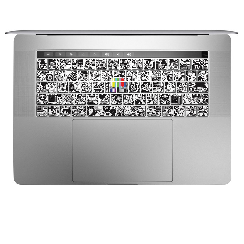 MacBook Keyboard Skin design of Pattern, Drawing, Doodle, Design, Visual arts, Font, Black-and-white, Monochrome, Illustration, Art with gray, black, white colors