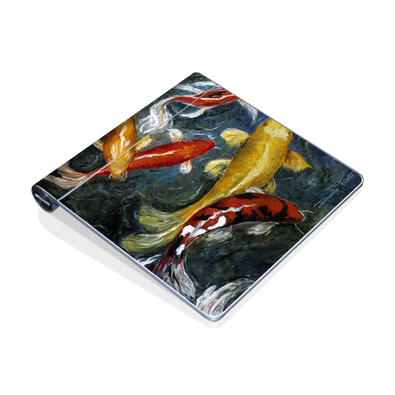Apple Magic Trackpad Skin design of Koi, Fish pond, Pond, Feeder fish, Fish, Painting, Art, Carp, Tail with black, gray, green, red, blue colors
