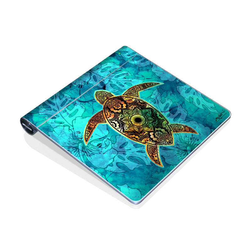 Apple Magic Trackpad Skin design of Sea turtle, Green sea turtle, Turtle, Hawksbill sea turtle, Tortoise, Reptile, Loggerhead sea turtle, Illustration, Art, Pattern with blue, black, green, gray, red colors
