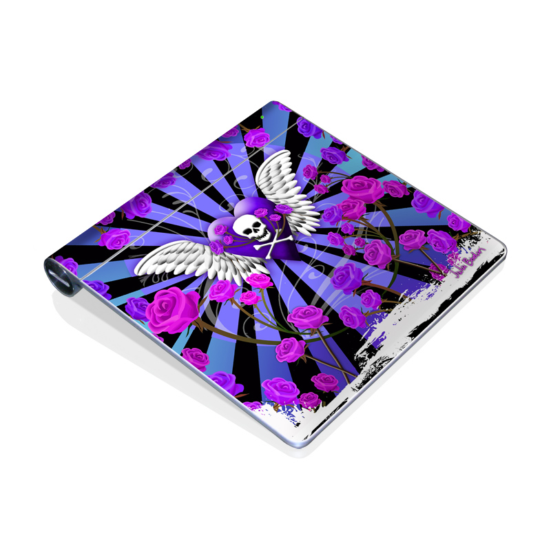 Skull & Roses Purple Apple Magic Trackpad Skin