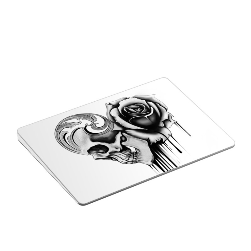 Apple Magic Trackpad 2 Skin design of Black-and-white, Illustration, Monochrome, Rose, Plant, Style, Metal, Drawing with white, black, gray colors