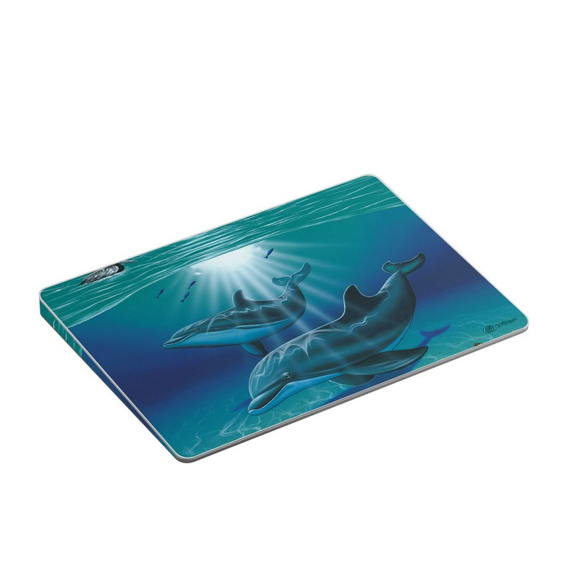 Apple Magic Trackpad 2 Skin design of Dolphin, Marine mammal, Bottlenose dolphin, Cetacea, Short-beaked common dolphin, Common bottlenose dolphin, Marine biology, Water, Ocean, Fin with blue, black, gray colors