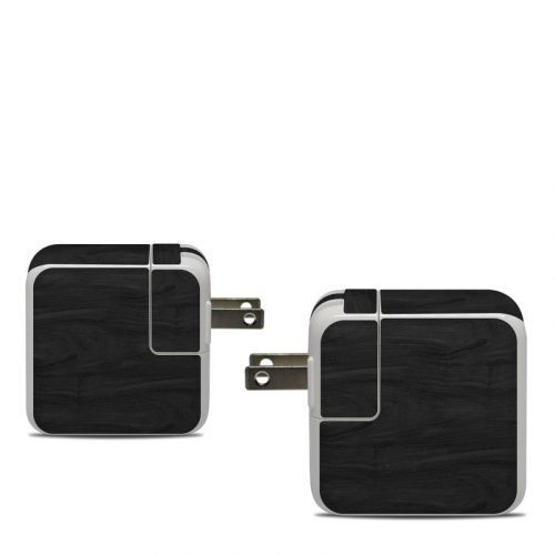 Black Woodgrain Apple 30W USB-C Power Adapter Skin