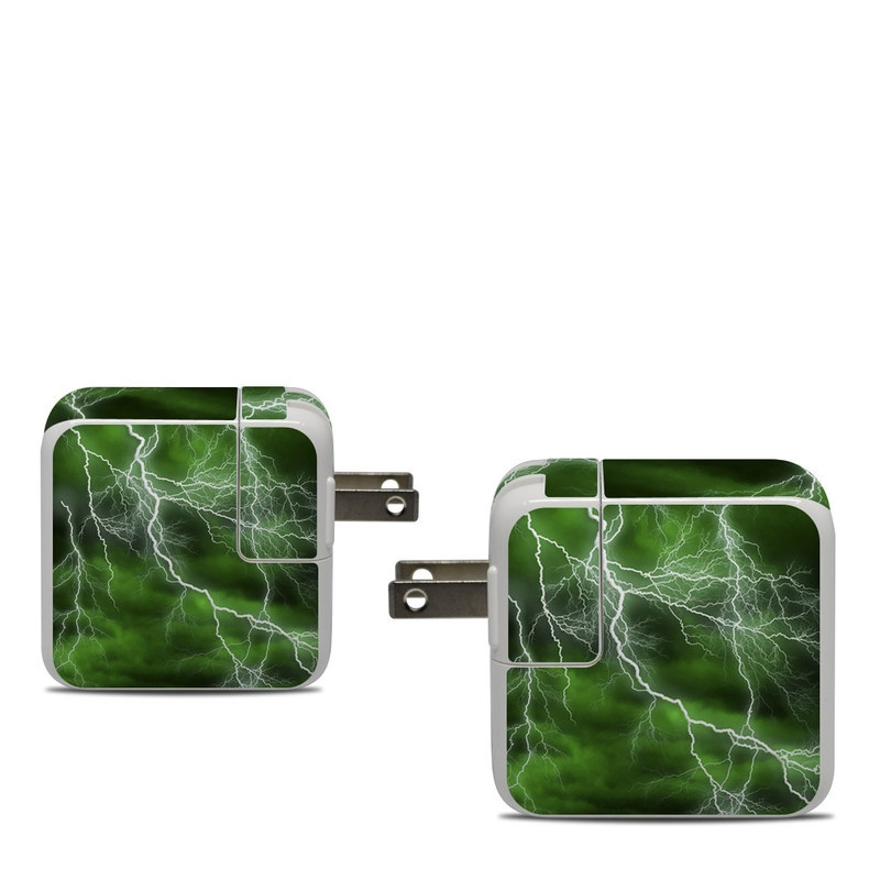 Apple 30W USB-C Power Adapter Skin design of Thunderstorm, Thunder, Lightning, Nature, Green, Water, Sky, Atmosphere, Atmospheric phenomenon, Daytime with green, black, white colors