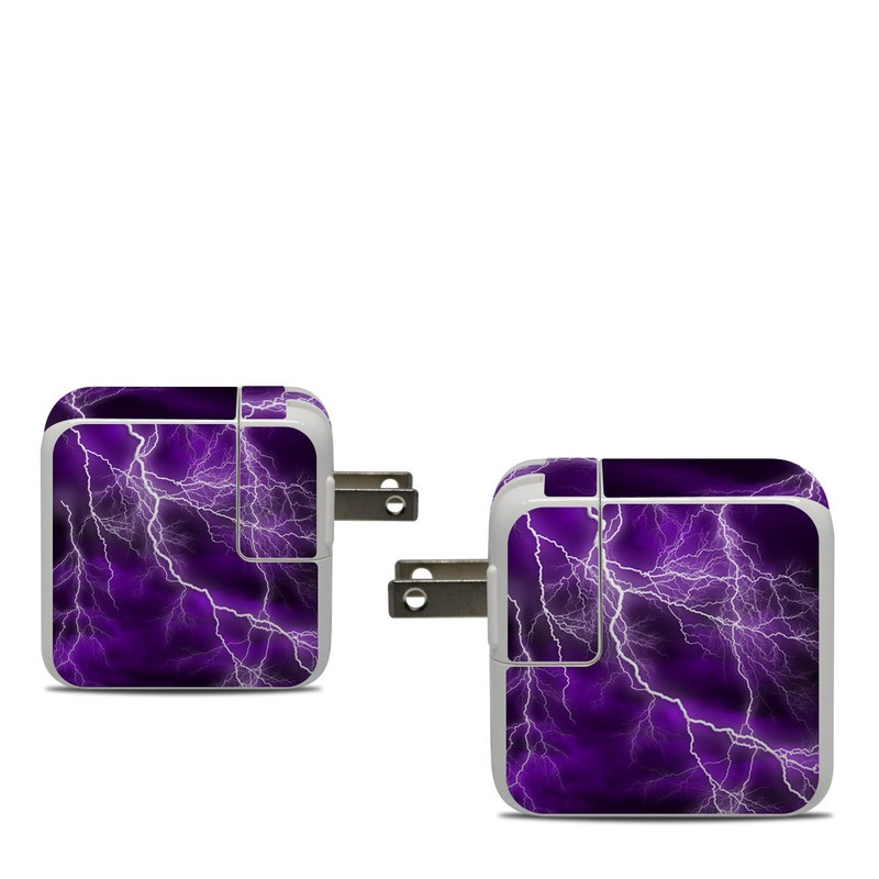 Apple 30W USB-C Power Adapter Skin design of Thunder, Lightning, Thunderstorm, Sky, Nature, Purple, Violet, Atmosphere, Storm, Electric blue with purple, black, white colors