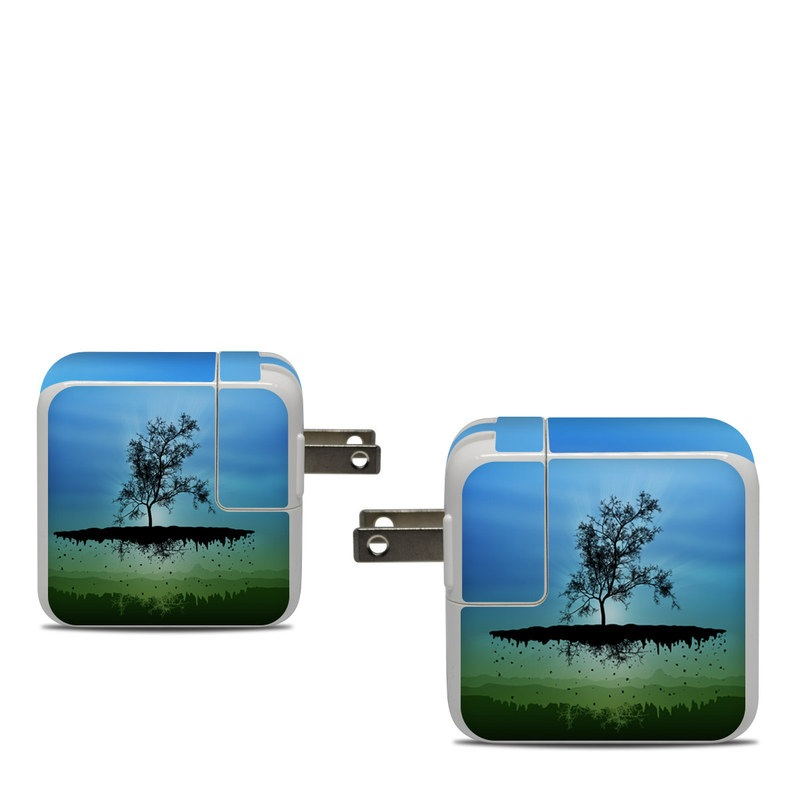 Apple 30W USB-C Power Adapter Skin design of Natural landscape, Nature, Sky, Reflection, Tree, Blue, Water, Green, Atmospheric phenomenon, Calm with blue, black, gray, green colors