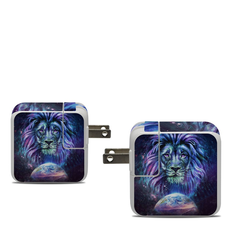 Apple 30W USB-C Power Adapter Skin design of Lion, Felidae, Purple, Wildlife, Big cats, Illustration, Darkness, Space, Painting, Art with purple, blue, green, black, white, red colors