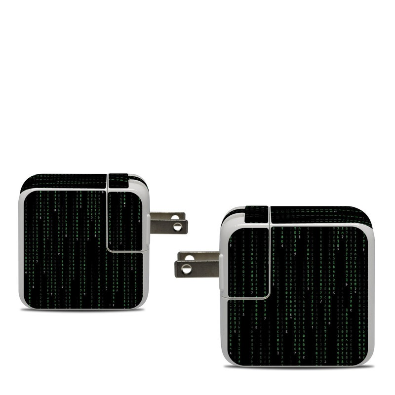 Apple 30W USB-C Power Adapter Skin design of Green, Black, Pattern, Symmetry with black colors