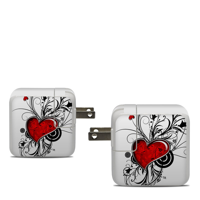 Apple 30W USB-C Power Adapter Skin design of Heart, Line art, Love, Clip art, Plant, Graphic design, Illustration with white, gray, black, red colors