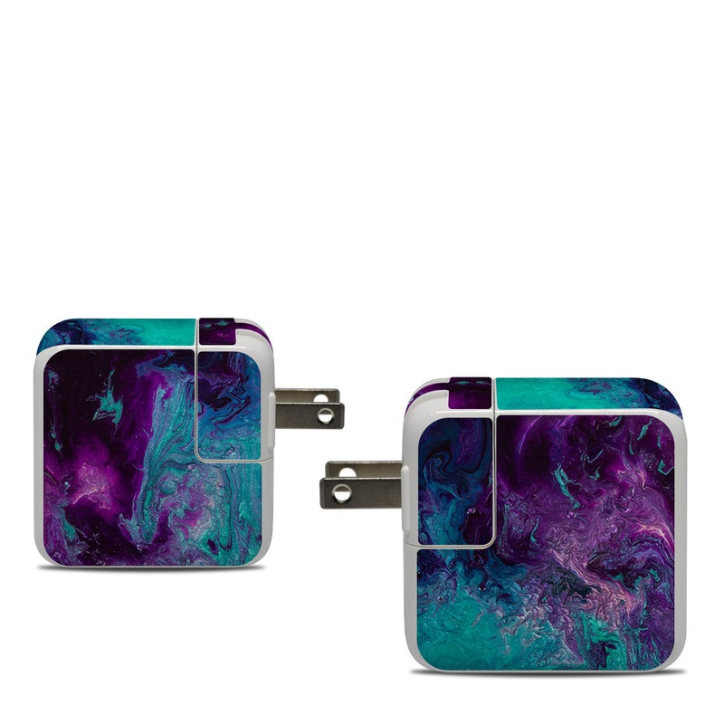 Apple 30W USB-C Power Adapter Skin design of Blue, Purple, Violet, Water, Turquoise, Aqua, Pink, Magenta, Teal, Electric blue with blue, purple, black colors