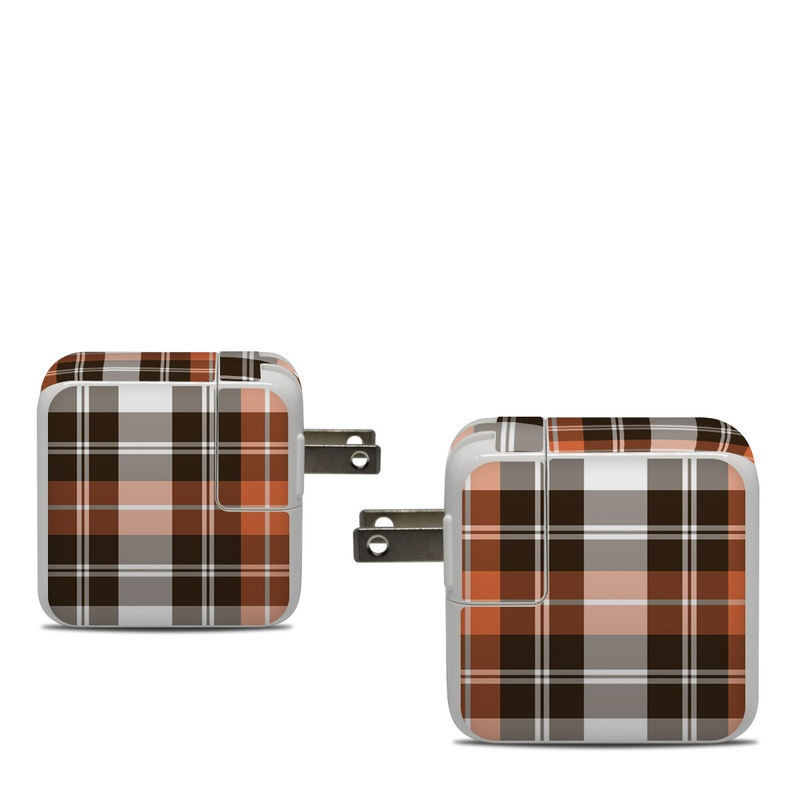 Apple 30W USB-C Power Adapter Skin design of Plaid, Pattern, Tartan, Orange, Brown, Textile, Line, Design, Tints and shades with gray, black, red, white, pink, green colors