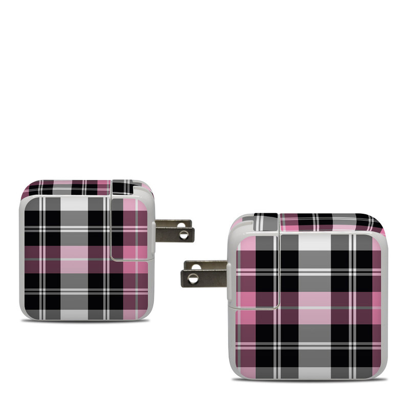 Apple 30W USB-C Power Adapter Skin design of Plaid, Tartan, Pattern, Pink, Purple, Violet, Line, Textile, Magenta, Design with black, gray, pink, red, white, purple colors