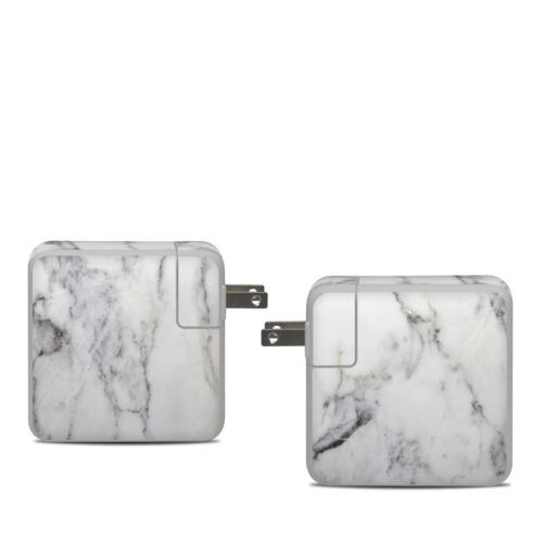 White Marble Apple 61W USB-C Power Adapter Skin