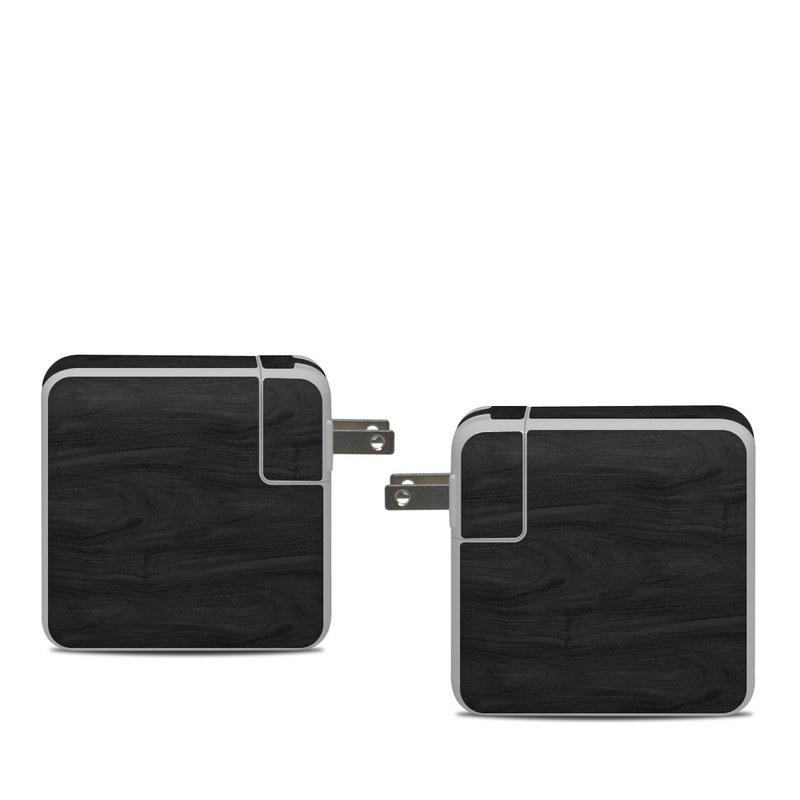 Apple 61W USB-C Power Adapter Skin design of Black, Brown, Wood, Grey, Flooring, Floor, Laminate flooring, Wood flooring with black colors