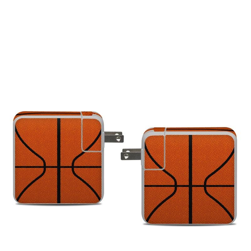 Apple 61W USB-C Power Adapter Skin design of Orange, Basketball, Line, Pattern, Sport venue, Brown, Yellow, Design, Net, Team sport with orange, black colors